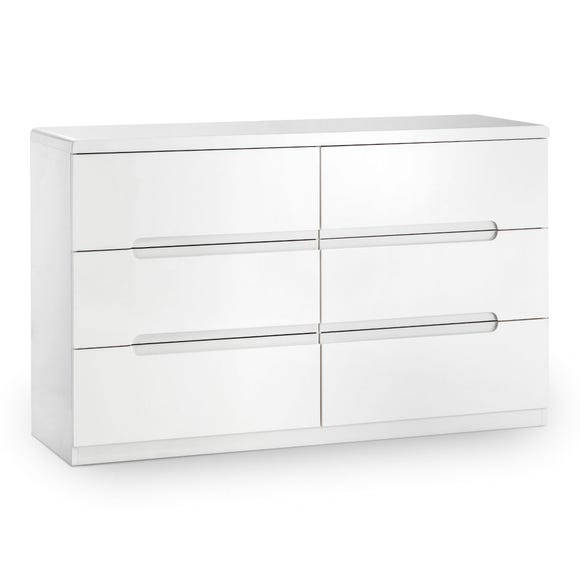 Manhattan White Wide 6 Drawer Chest White