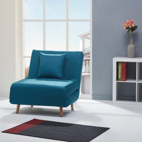 Macy Fabric Teal Chair Bed