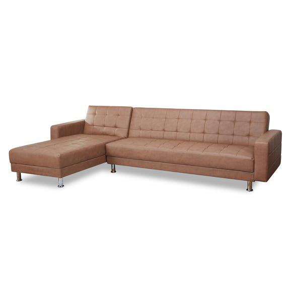 Spencer Leather Chaise Sofa Bed Brown