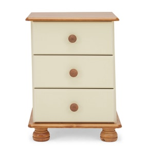 Colburn Cream 3 Drawer Bedside Table