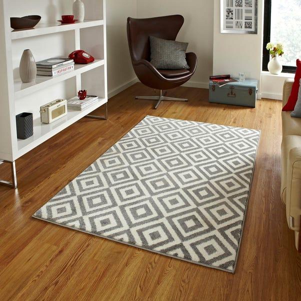 Grey Diamond Matrix Rug  undefined