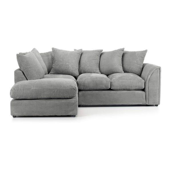 Denver Grey Jumbo Cord Left Hand Corner Sofa Grey