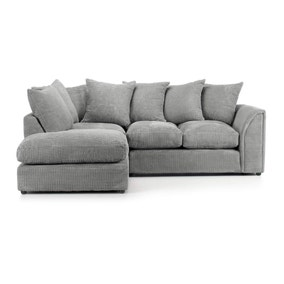 Denver Grey Jumbo Cord Left Hand Corner Sofa