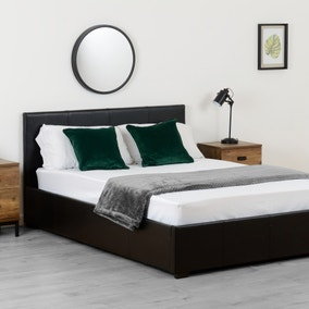 Waverley Black Faux Leather Ottoman Bed