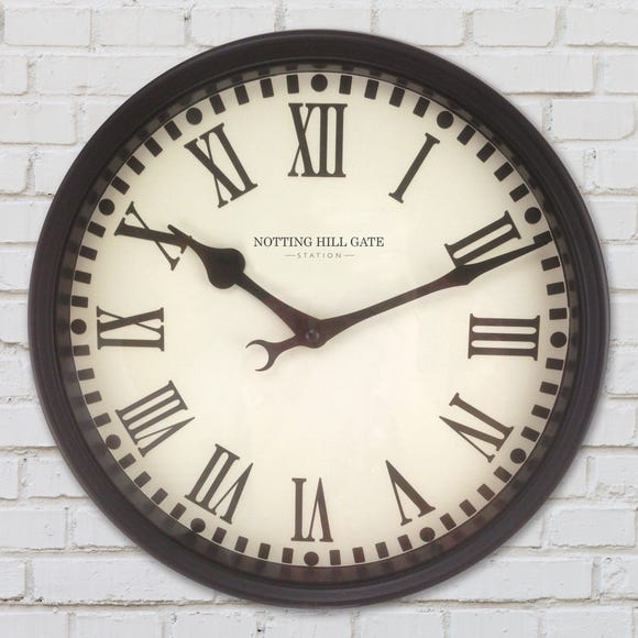 Notting Hill Gate Station Wall Clock Black & White