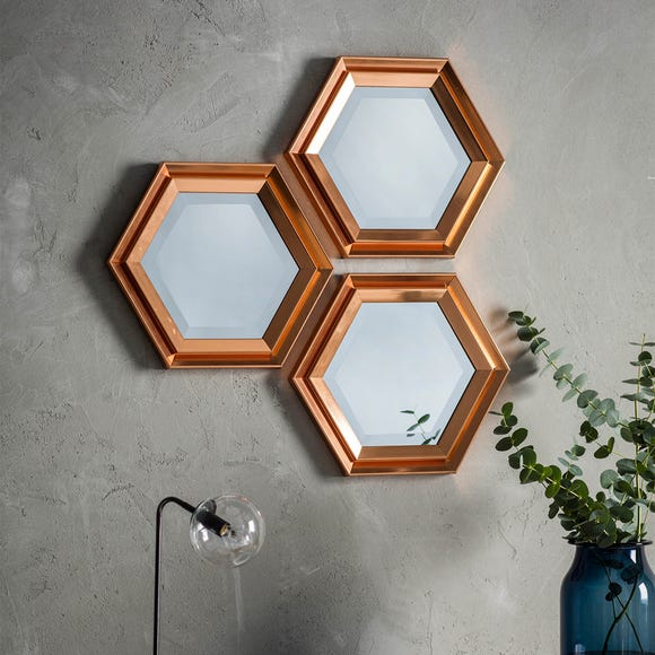 Fawkner Set of 3 Wall Mirrors Brown