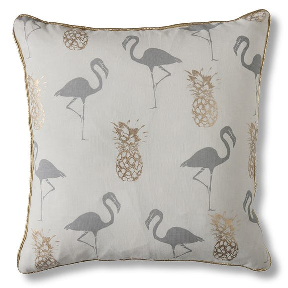 Gallery Direct Flamingo and Pineapples Grey Cushion Gold