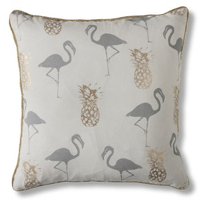 Gallery Direct Flamingo and Pineapples Grey Cushion