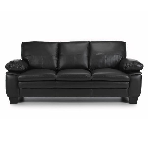 Texas 3 Seater Bonded Leather Sofa Black Texas