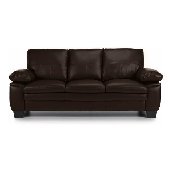 Texas 3 Seater Bonded Leather Sofa Brown Texas