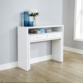 Regis White Hideaway Console Desk