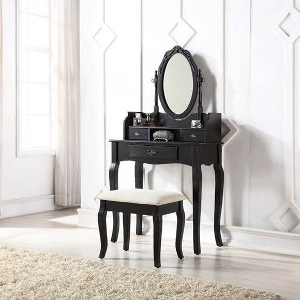 Lumberton Black Antique Dressing Table Set