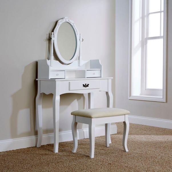 Lumberton White Antique Dressing Table Set