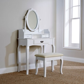 Lumberton White Antique Dressing Table Set
