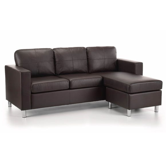 Zara Reversible Faux Leather Corner Chaise Brown