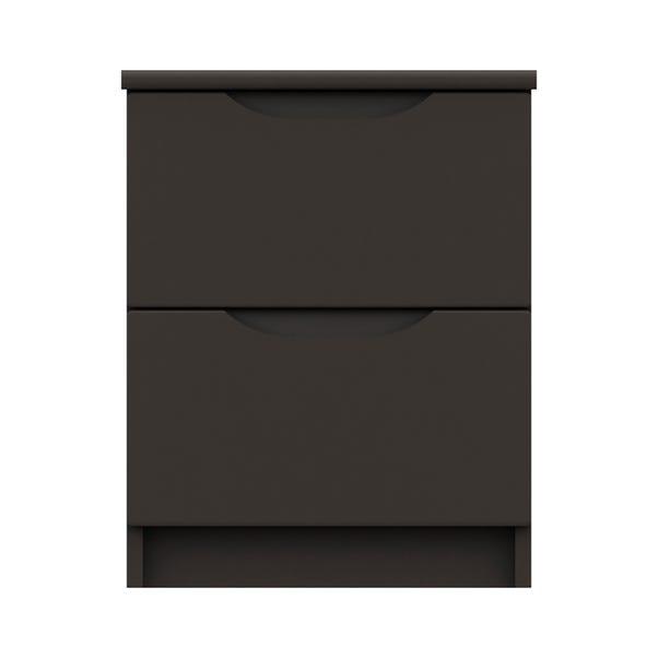 Legato Graphite Gloss 2 Drawer Bedside Table