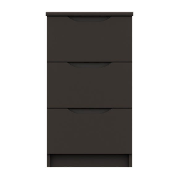 Legato Graphite Gloss 3 Drawer Bedside Table