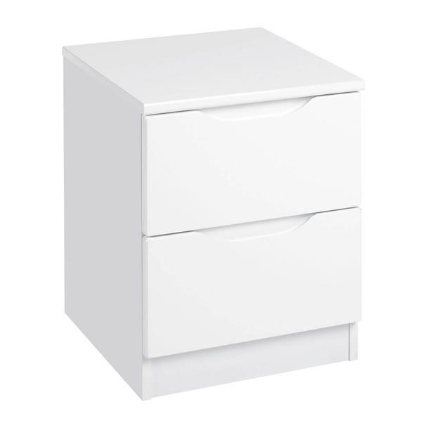 Legato White Gloss 2 Drawer Bedside Table