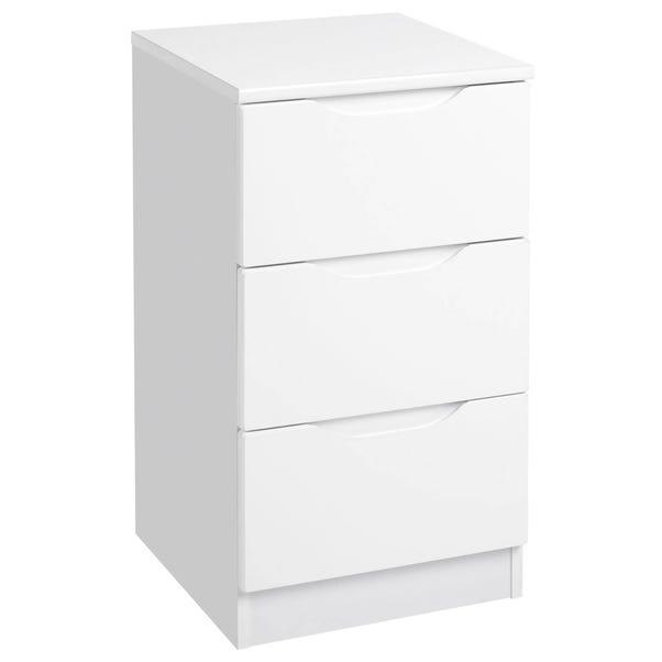 Legato White Gloss 3 Drawer Bedside Table