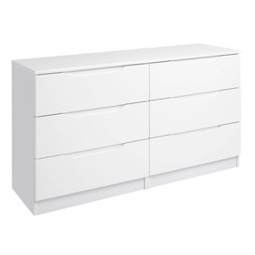 Legato White Gloss 6 Drawer Wide Chest