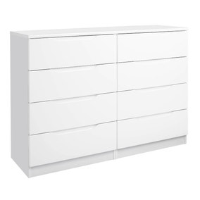 Legato White Gloss 8 Drawer Wide Chest