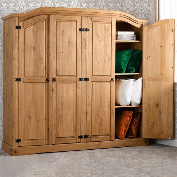 Corona 4 Door Wardrobe Pine (Brown)