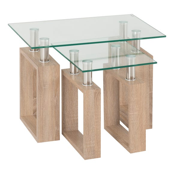 Milan Glass Top Nest of Tables Natural