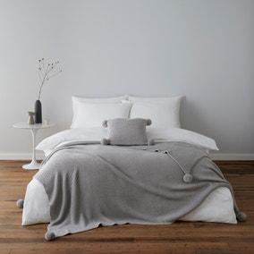 Pom Pom Grey Knit Cushion