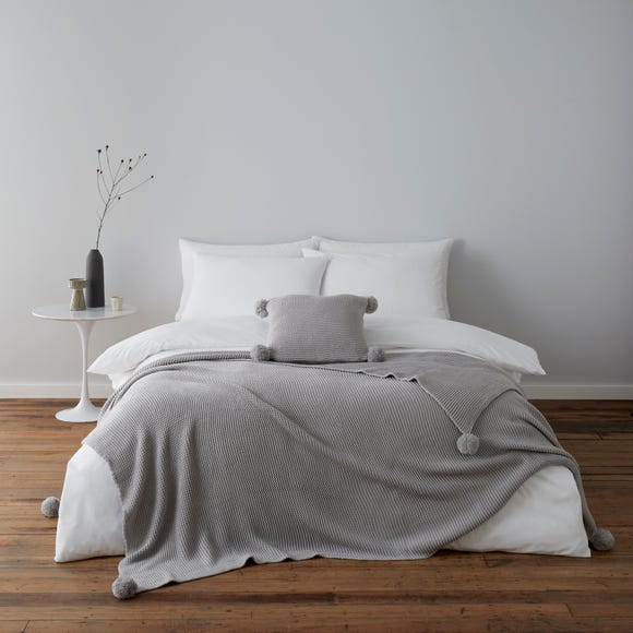 Pom Pom Knit Grey Throw