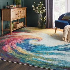Multi Coloured Celestial Wave Rug
