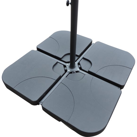 Water Fillable Cross Stand Cantilever Parasol Base Black