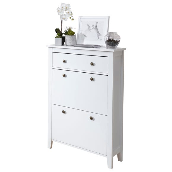 White Tiered Shoe Cabinet White