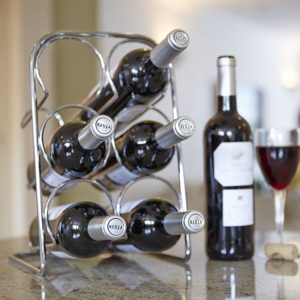 Hahn Pisa Chrome 6 Bottle Wine Rack Chrome