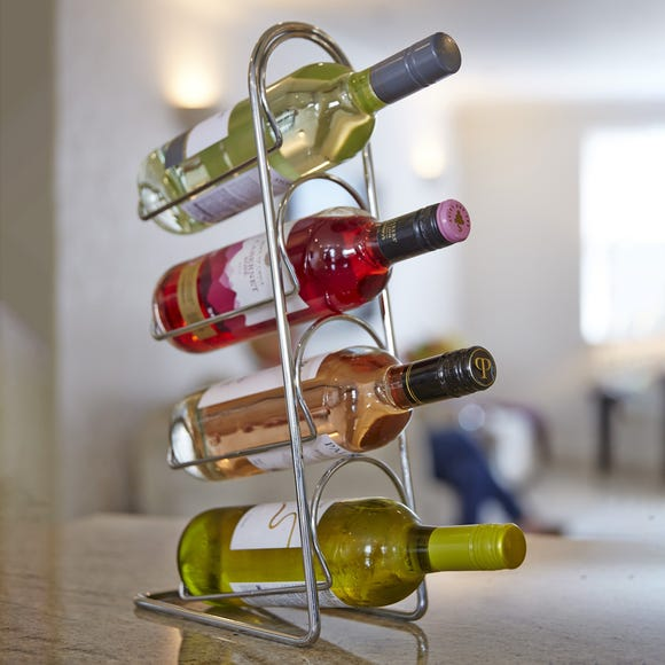 Hahn Pisa Chrome 4 Bottle Wine Rack Chrome
