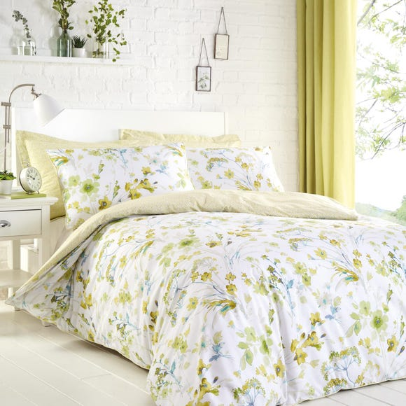 Lyla Green Reversible Duvet Cover and Pillowcase Set Green undefined