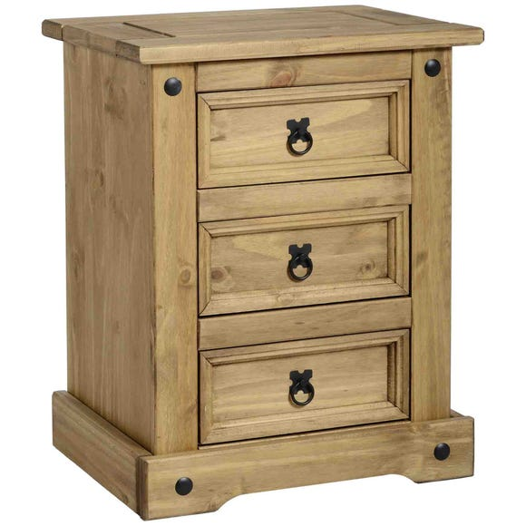 Premiere Corona 3 Drawer Bedside Chest Natural