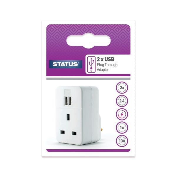 Status Twin USB Plug Through Adaptor White