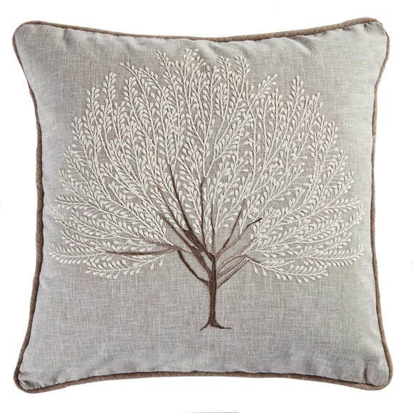 Embroidered Tree Cushion Natural