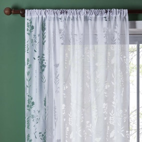 Botanical Floral Burn Out Slot Top Single Voile Panel