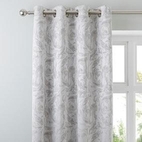 Diablo Marble Silver Eyelet Curtains
