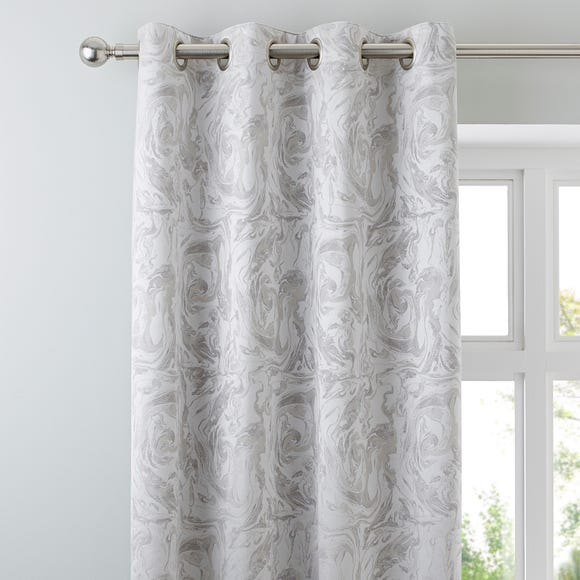Diablo Marble Silver Eyelet Curtains  undefined