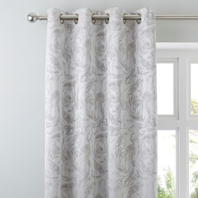 Diablo Marble Silver Eyelet Curtains