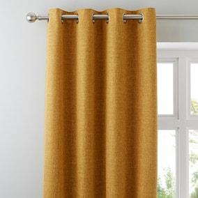 Vermont Mustard Eyelet Curtains