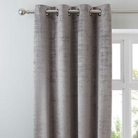 Ruben Grey Velour Eyelet Curtains