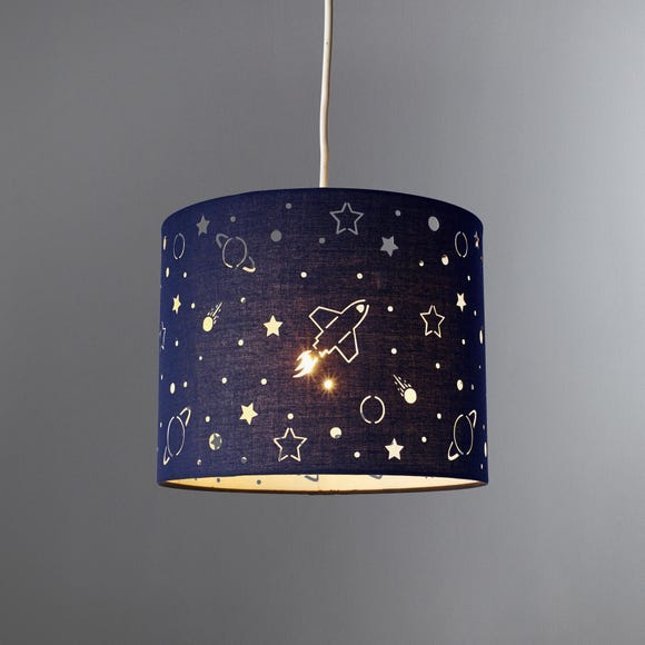 Space Laser Cut Glow in the Dark Light Shade Navy (Blue)