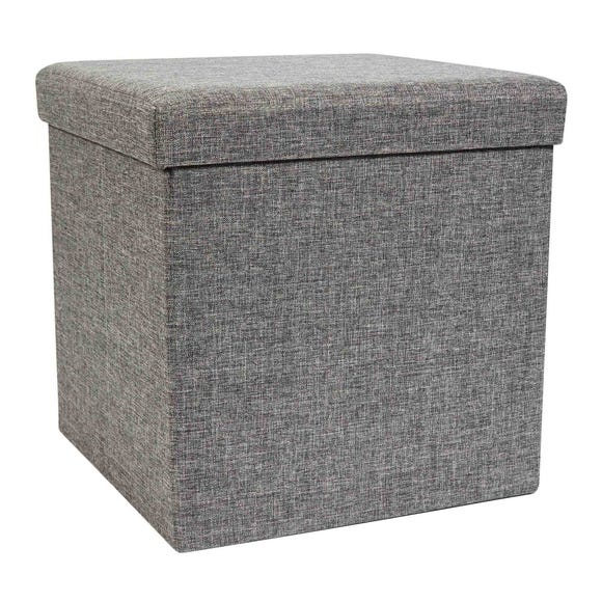 Foldable Grey Cube Ottoman