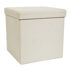 Foldable Cream Cube Ottoman