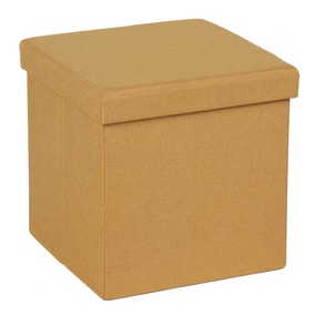 Foldable Ochre Cube Ottoman