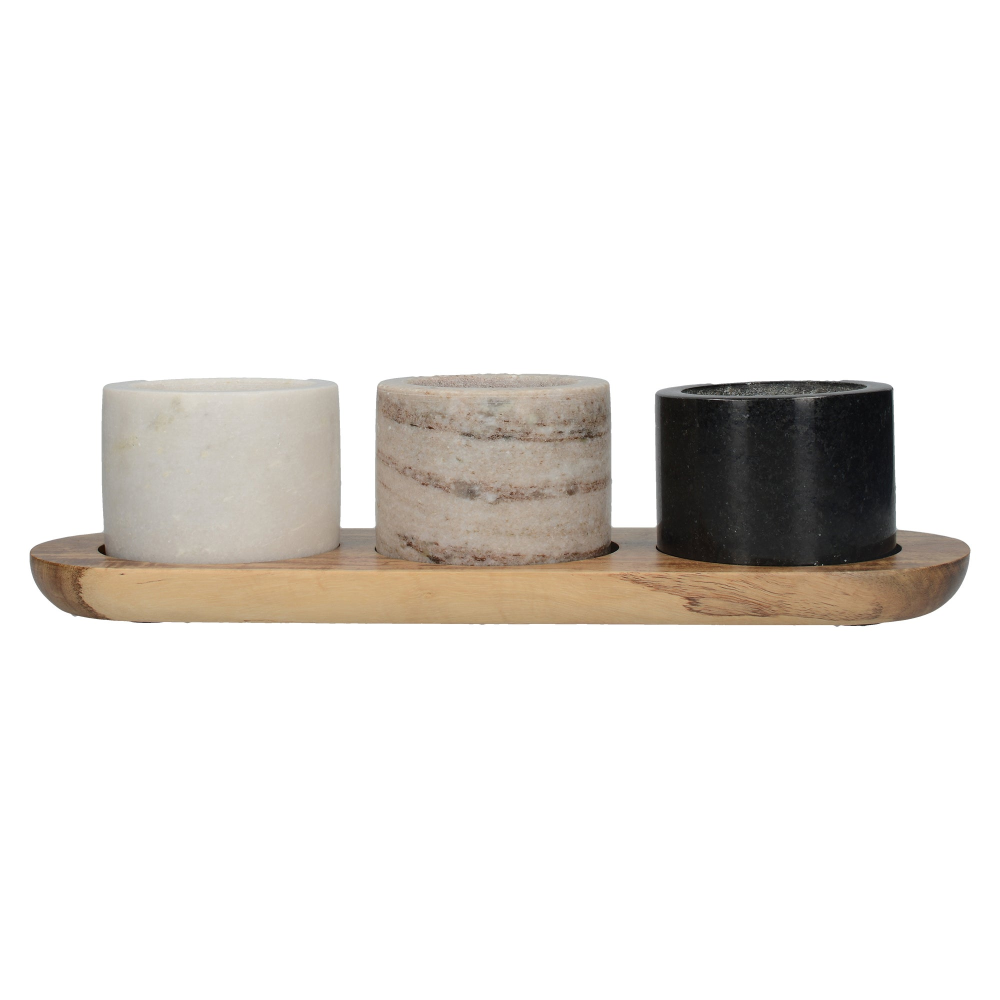 3 Piece Marble Dishes & Board Set Natural