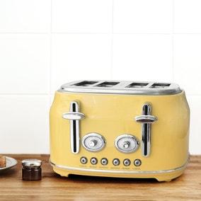 Retro Yellow 4 Slice Toaster